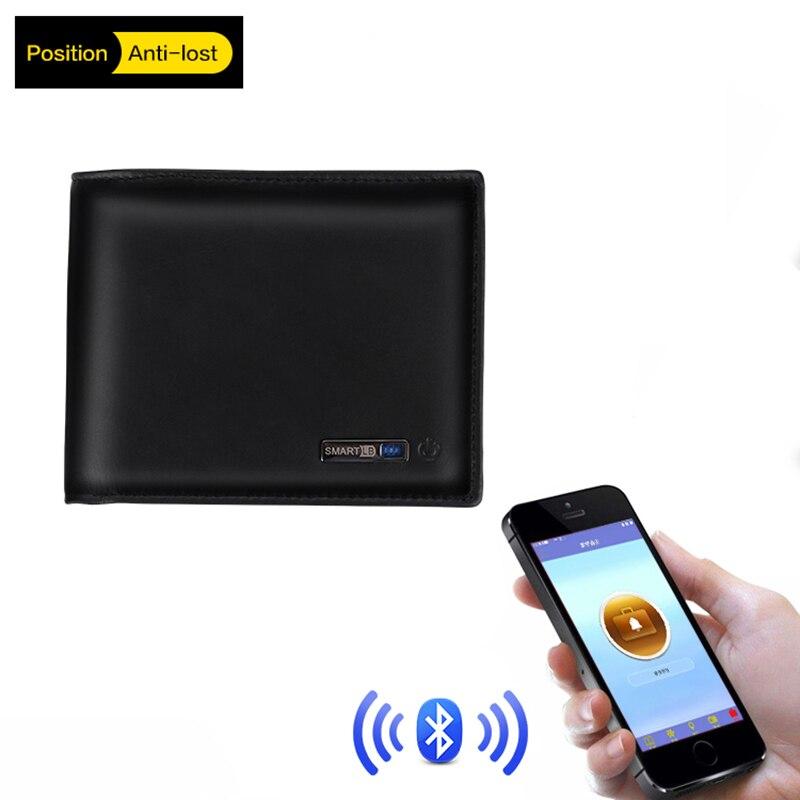Men Genuine Leather Anti Lost Intelligent Bluetooth Smart Wallet Men GPS Locator Luxury Brand Wallet male