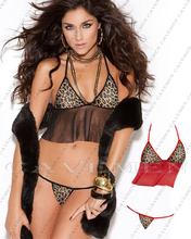 Leopard sling Bikini bellyband small corset with thongs * 3679 *Sexy lingerie T-BACK G-STRING Tight