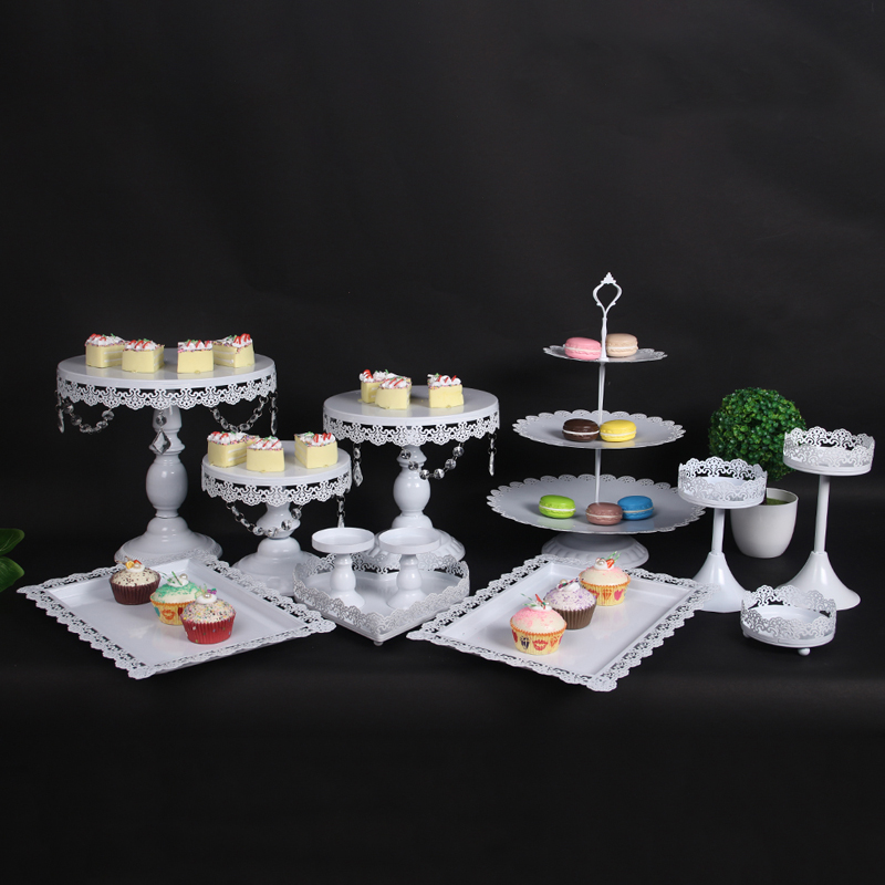 11pcs White Gold Crystal Pearl Metal Cake Stand Cupcake Dessert Serving Rack Holder Party Wedding Banquet Table Decorations Home