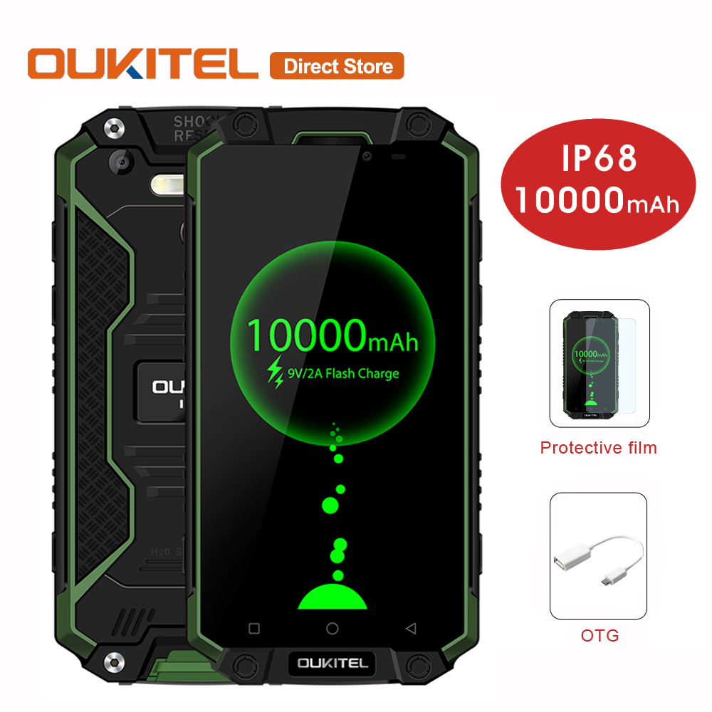 10000mAh OUKITEL K10000 Max IP68 Waterproof 4G LTE Smartphone Android 7.0 MTK6753 Octa-Core 3GB+32GB 16.0MP 5.5 Mobile Phone