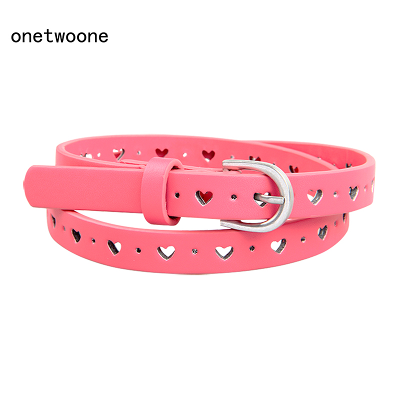 PU Leather Belts For Women Girl Kids Brand Waist Designers Children Belt Straps Pin Buckle Candy ColorUniqueHeart Shape P14604-1