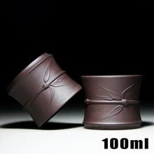 100 ML de Arcilla Púrpura Taza de Té De Bambú Té Kung Fu Chino Marca Genuina Zisha Taza