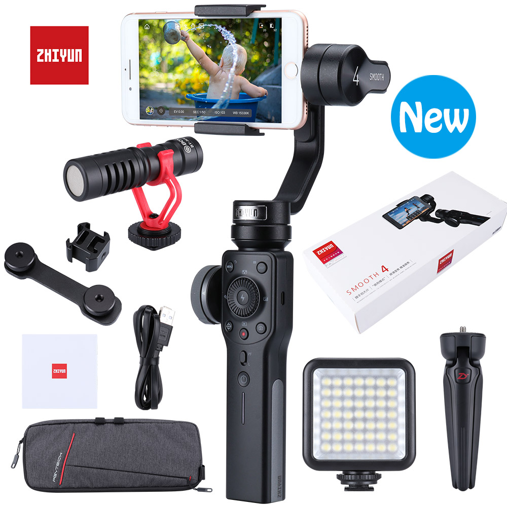 Zhiyun Smooth 4 / Q 3-Axis Handheld Gimbal Smartphone Stabilizer for iPhone XS XR X 8Plus & Huawei & XiaomMi Gopro Action CameraZhiyun Smooth 4 / Q 3-Axis Handheld Gimbal Smartphone Stabilizer for iPhone XS XR X 8Plus & Huawei & XiaomMi Gopro Action Camera