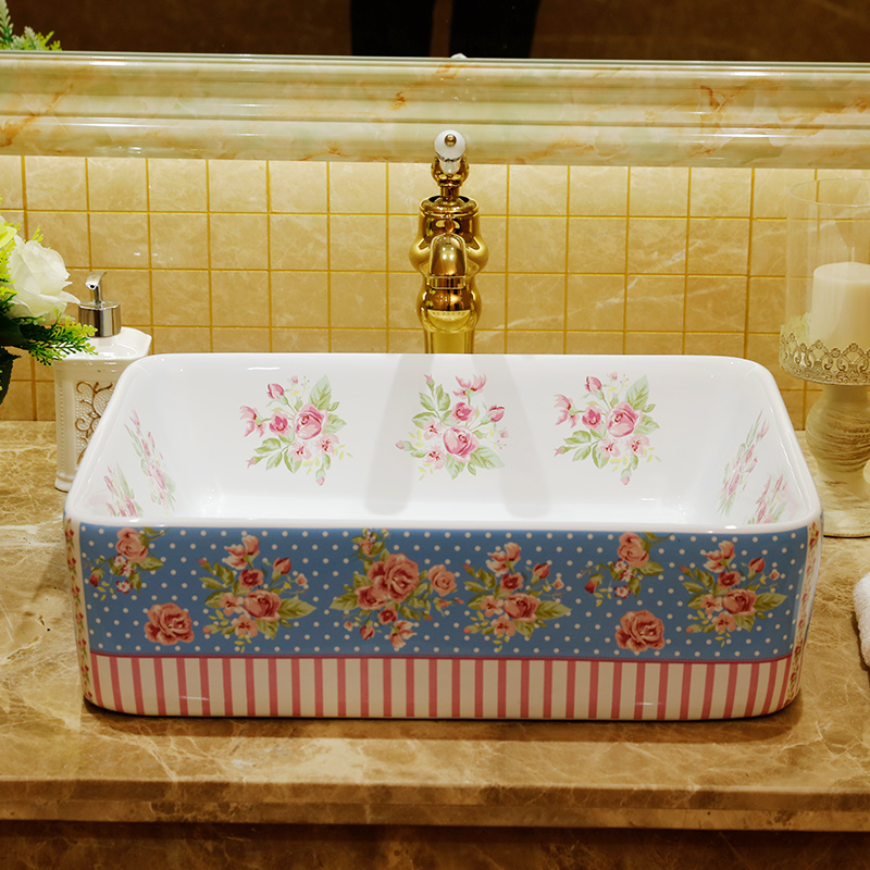 Rectangular shape rural pastoral style porcelain ceramic sink for hotelRectangular shape rural pastoral style porcelain ceramic sink for hotel