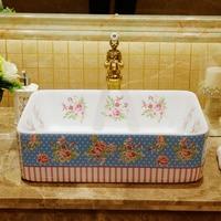 Rectangular shape rural pastoral style porcelain ceramic sink for hotel