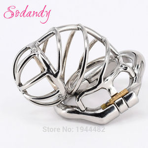 SODANDY Male Chastity Devices Bondage Penis Rings Cock Lock Stainless Steel Chastity Belt Metal Skew Cock Cage Sex Toys For Men
