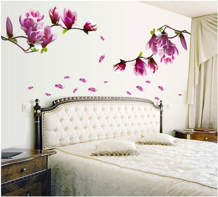 3D NY! Magnolia blomma Joy Photo Wall Sticker Wall Decal Poster Photo Picture Frame Base Art DIY Home Decor Gör hemmet varmare