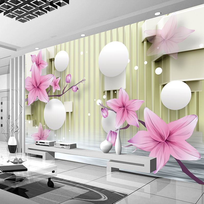 Custom Photo Mural Wall Modern Simple Living Room Sofa TV Background Lily Flower Non-woven Straw Texture Wallpaper Painting 3D