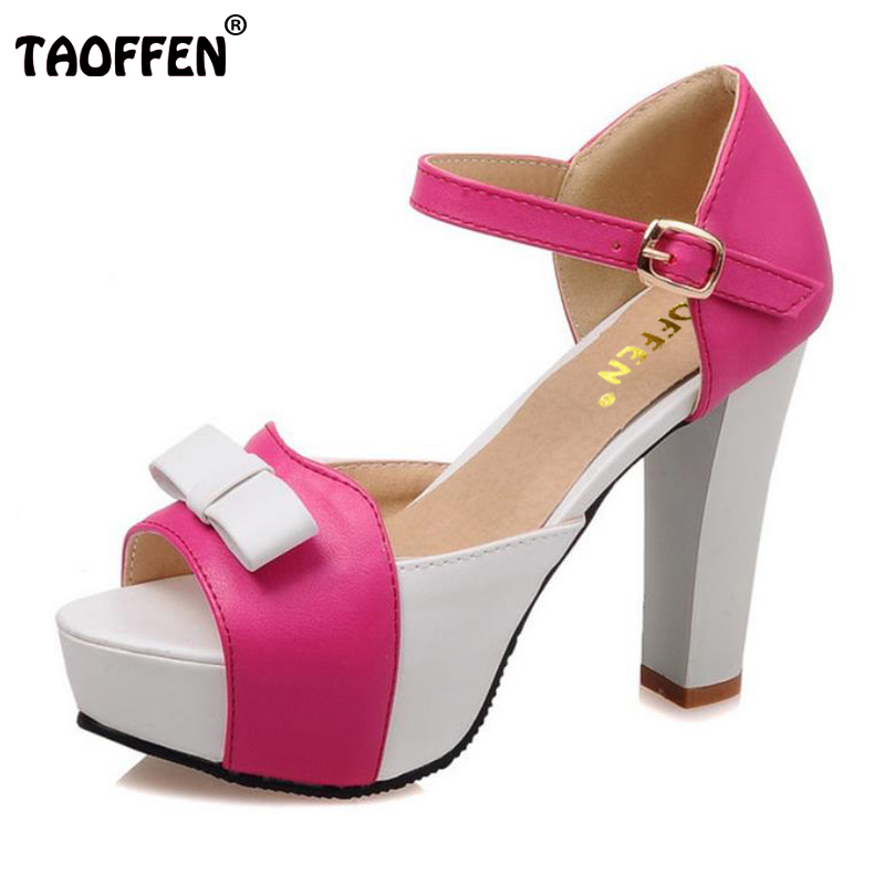 TAOFFEN Women High Heel Sandals Fashion Bowtie Open Toe Platform Shoes Wmoan Thick Heeled Ladies Footwear Size 34-43 PA00769 summer causal open toe buckle high heeled thick waterproof platform sandals for women