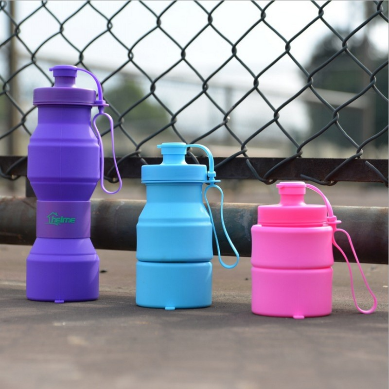 NEW 800ML Creative Folding Bottles Water Bottle Foldable Silicone Traveling Sport Cycling Kettle Outdoor Sports Water Bottles