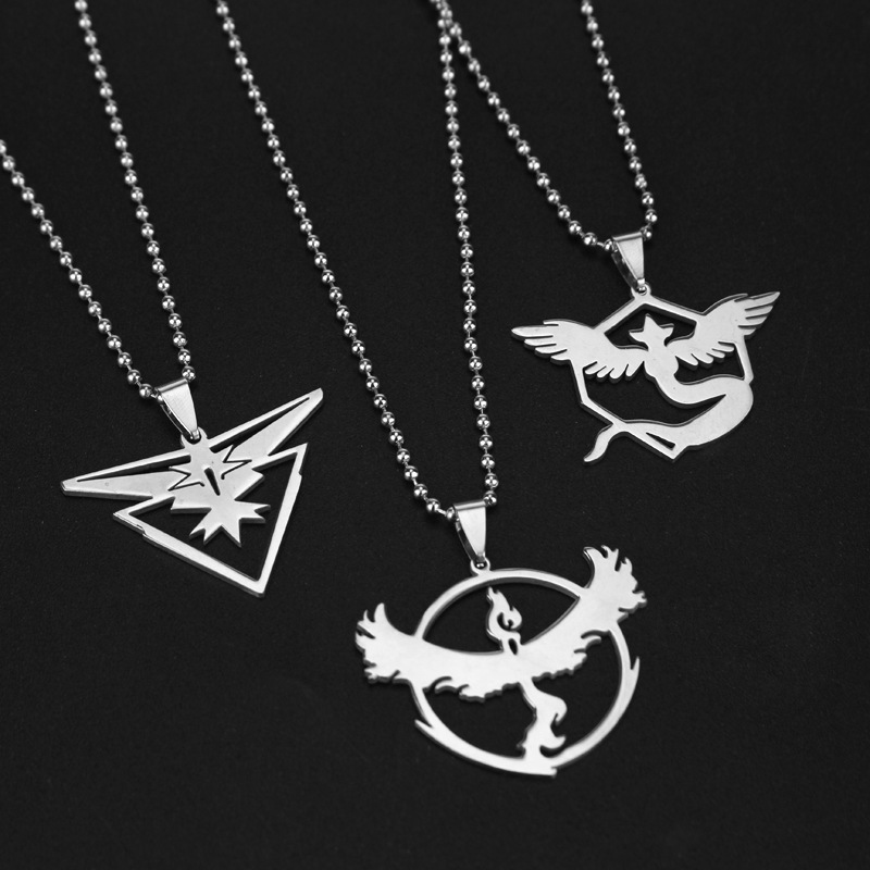 12cs/lot Game Jewelry Pokemon Go Necklace Fashion Stainless Steel Team Valor Mystic Instinct Logo ball Chain For Gift
