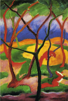 High quality Oil painting Canvas Reproductions Weasels at Play 1911 By Franz Marc  hand painted