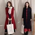 Moda Otoño Invierno de lana femenina prendas de vestir exteriores Breasted espesar abrigo Largo Foso para Las Mujeres botones de la placa YL128