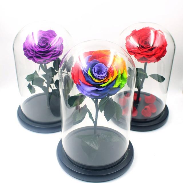 11407799793 Tamanho grande Tampa De Vidro Fresco Preservado Rose Red Flor Imortal Rosas  Coloridas para a Menina