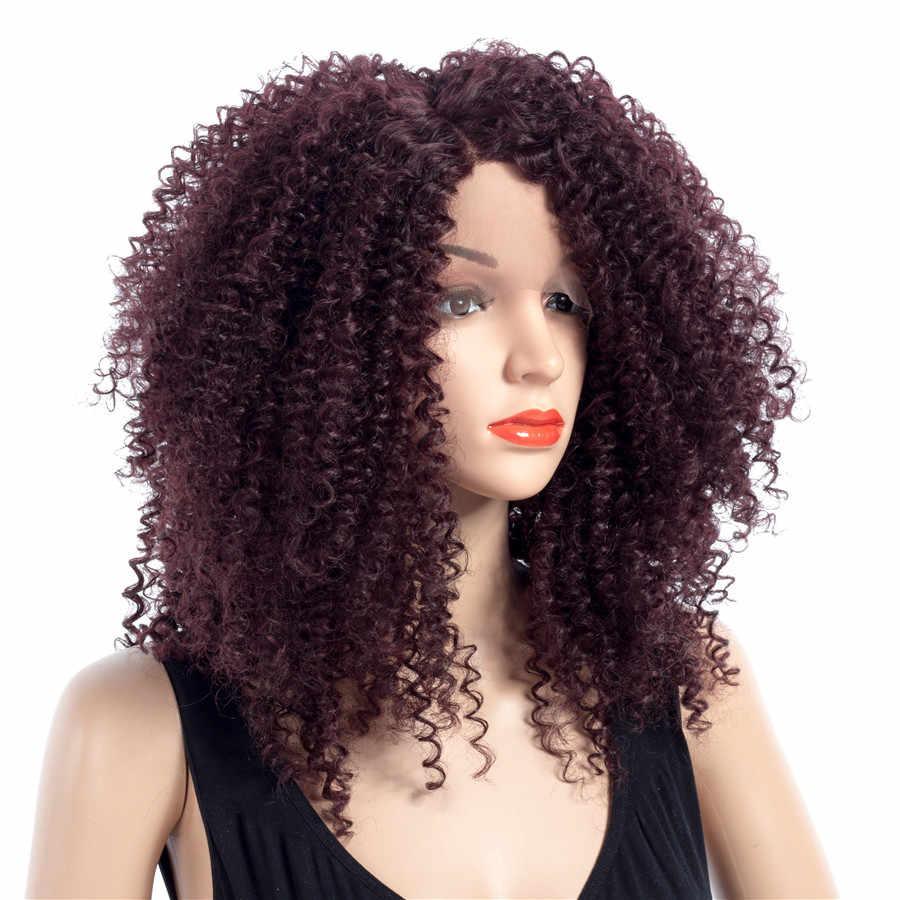 Парики из синтетического кружева на передней части 16 дюймов кудрявые 99J цвет парики для женщин 150% плотность один кусок