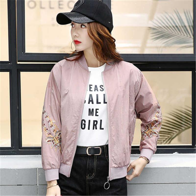 الخريف bomber سترة الإناث أوروبا الولايات المتحدة التطريز طويلة الأكمام الوردي معطف قصير البيسبول الملابس أبلى النساء YZ257