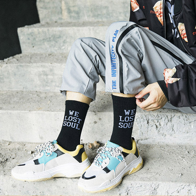 Hearty New Harajuku Style Hip Hop Mens White Black Socks Street Funny Socks Tide Male Skateboard Business Socks Cotton Mens Socks Moderate Price Underwear & Sleepwears
