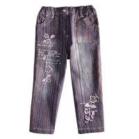 Детская одежда — новинки новые модные Штаны для маленькой девочки модные цветочные Штаны красивые цветы вышивка Повседневная Джинсы G099