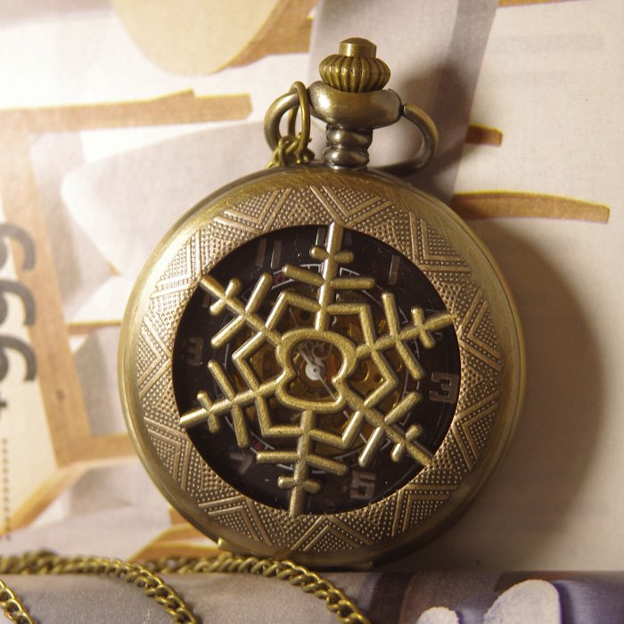 2012 shipping hot sale new men women lady Antique Mechanical Pocket Watch Necklace bronze steampunk snowflake wp287