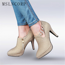 Plus Size 34-43 Fashion Ankle Boots Dress Stilettos Pumps Suede Leather Women Pointed toe High Heels Booties Party Wedding shoes