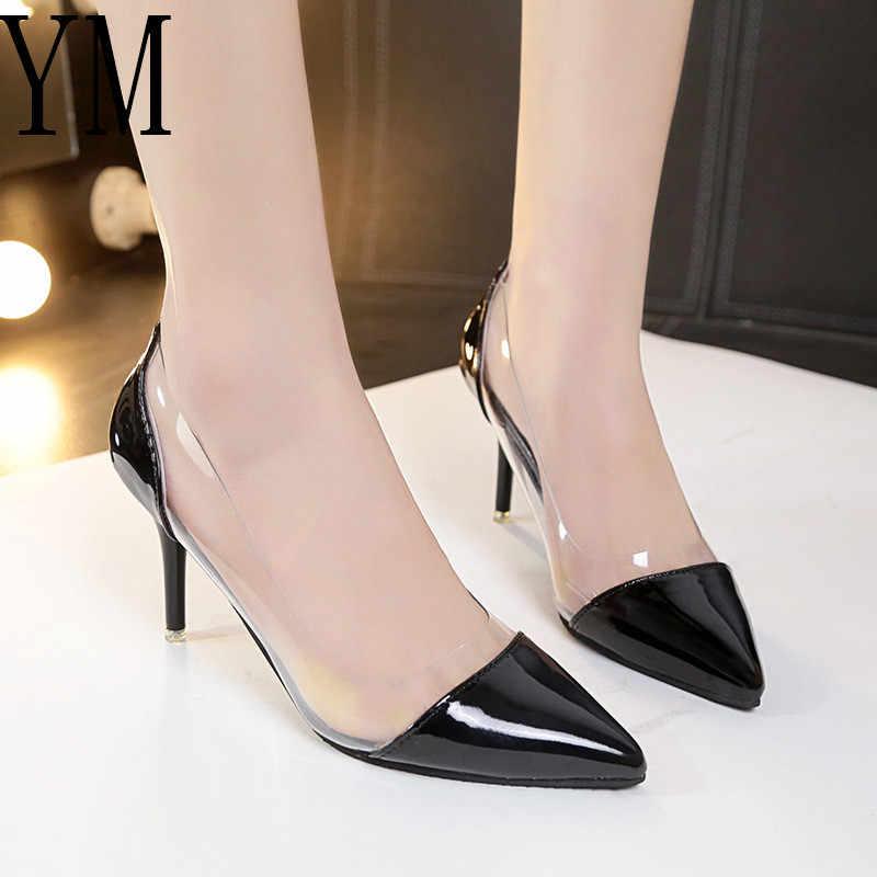2018 Son Moda Kadın INCE Yüksek Topuklu Lüks Marka Özel Deri ve PVC Sivri Burun Pompaları Elbise Ayakkabı 8 CM boyutu 34-39