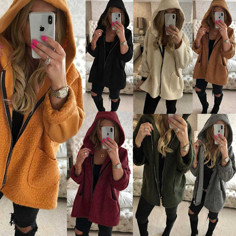 Wipalo Casual Faux Fur Coat 2019 Autumn Winter Warm Soft Zipper Fur Jacket Female Plush Overcoat Pocket Teddy Women Outwear