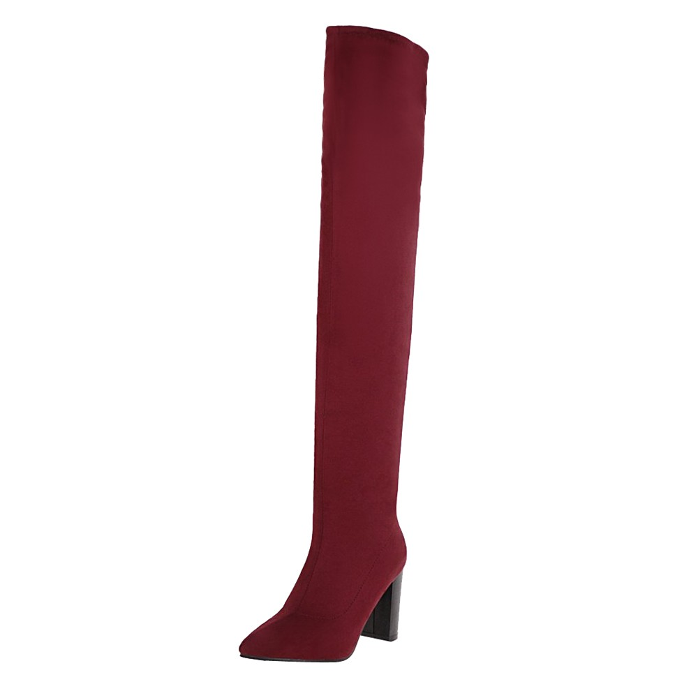 Stretch Slim Boots Sexy Over The Knee High Suede Women Snow Boots Women's Fashion Winter Thigh High Boots Shoes Woman