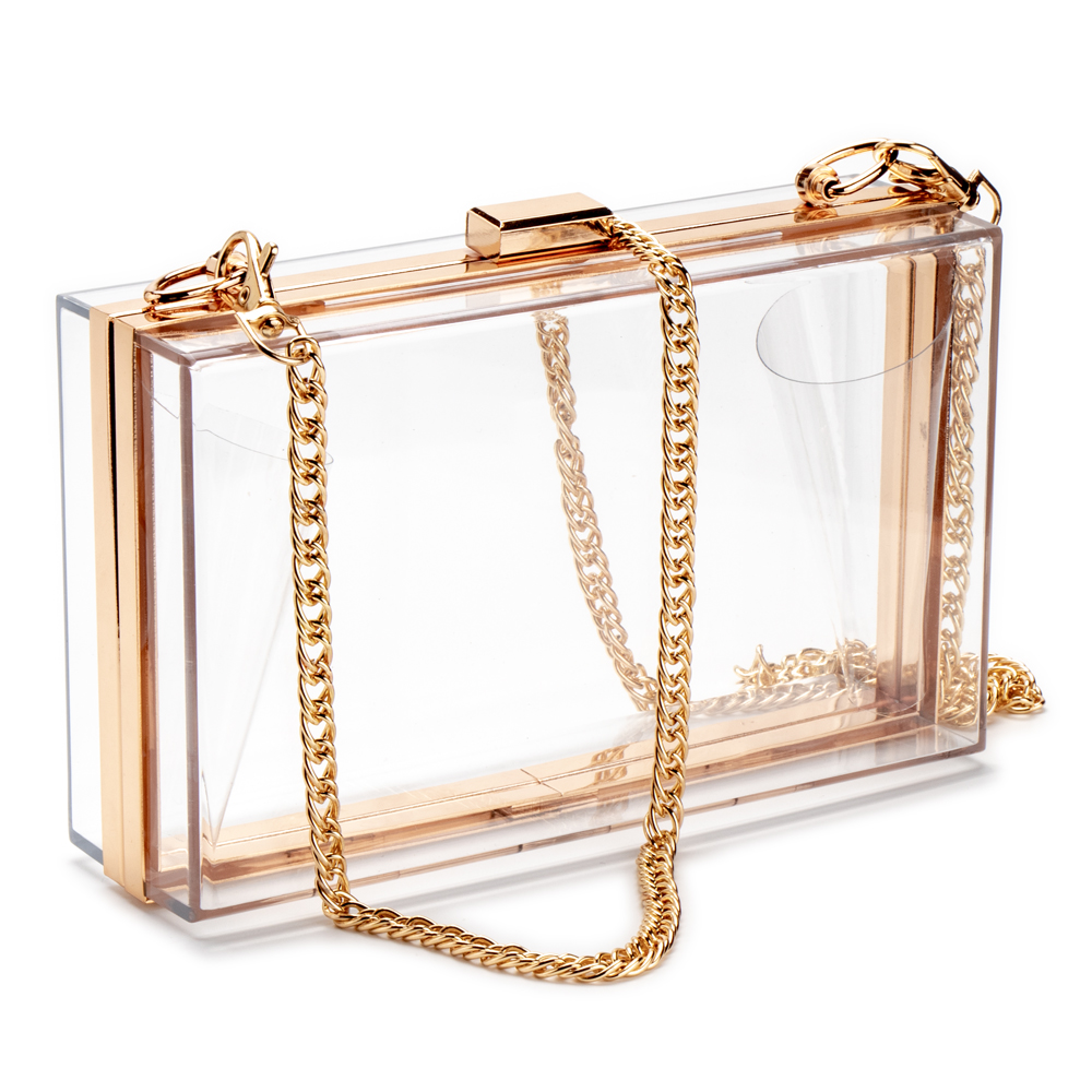 Women Acrylic Clear Clutch Transparent Crossbody Purse Evening Bag Sport Events Stadium Approved Chain Strap Gold/Silver(China)