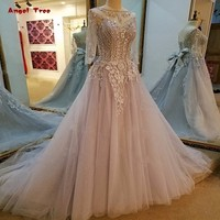 Formal Evening Gowns Dresses Vestidos De Festa 3 4 Sleeves Lace Up Back Beaded Crystal A