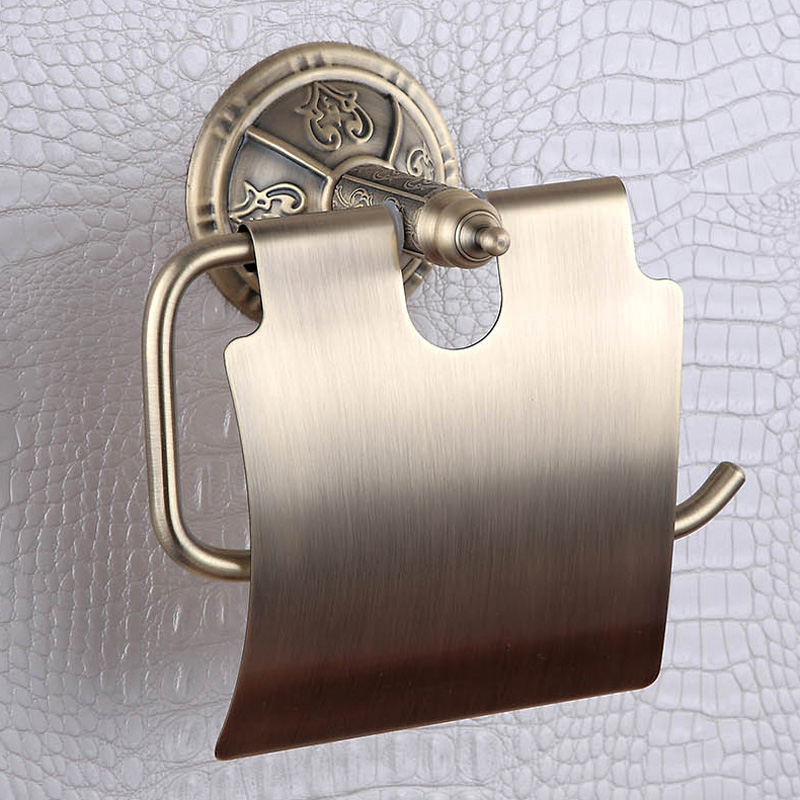 Toilet Paper Holder Antique Golden Bronze Wall Mounted Metal Brass Funny WC Toilet Bathroom Tissue Towel Roll Holders Rack Cover