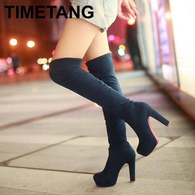 VALLKIN Novas Mulheres Camurça Moda Sexy Sobre o Joelho Botas Sexy Botas de Salto Alto fino Plataforma Sapatos de Mulher Preto Azul tamanho 35-43