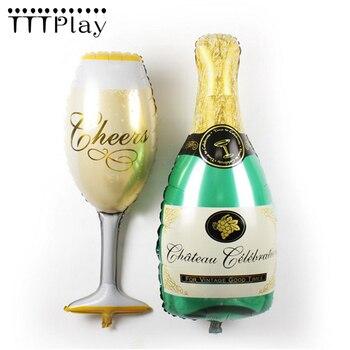 1 unids/lote copa de champán botella de cerveza globo de aluminio Bola de decoración de boda inflable suministros de globos de fiesta de cumpleaños