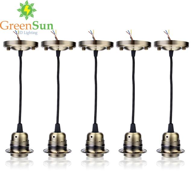 Greensun Antique Br 5pcs E27 Retro Lamp Holder Pendant Light Cord Set Ceiling Socket Base Rose With 1 35m Cable