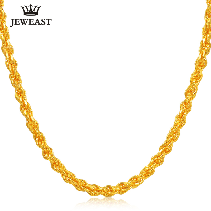 24K Pure Gold Necklace Real AU 999 Solid Gold Chain Nice Simple Classic Rope Chain Upscale Trendy Fine Jewelry Hot Sell New 2018 24k gold ring flower female women mother wife lady girl 2017new hot sale fine jewelry trendy good nice top upscale real pure 999