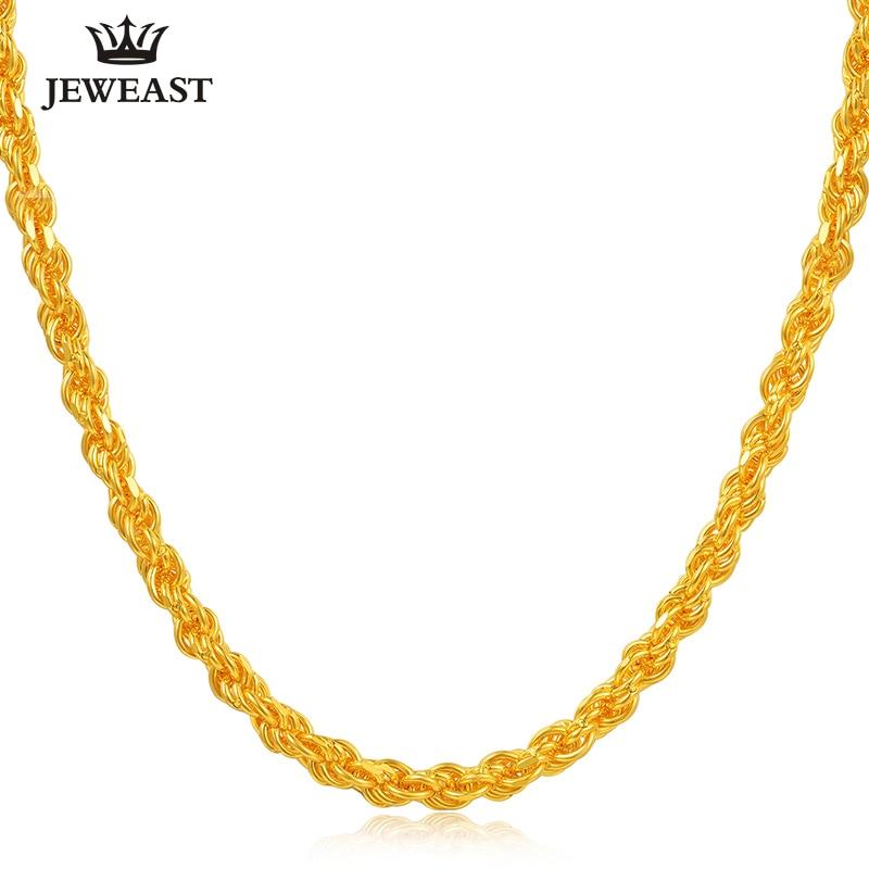 JJF 24K Reinem Gold Halskette Echt AU 999 Solid Gold Kette Nizza Einfache Klassische Seil Kette Gehobenen Feinen Schmuck heißer Verkauf Neue 2019-in Halsketten aus Schmuck und Accessoires bei  Gruppe 1