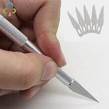 6 шт. Набор ножей для резьбы 1 ручка для резьбы+ 5 лезвий алюминиевый полюсный нож кожаный нож для резки бумаги инструмент для резьбы LYQ