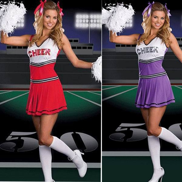 Free Shipping Sexy School Cheerleader Costume For Adults F Cheer Girls Uniform