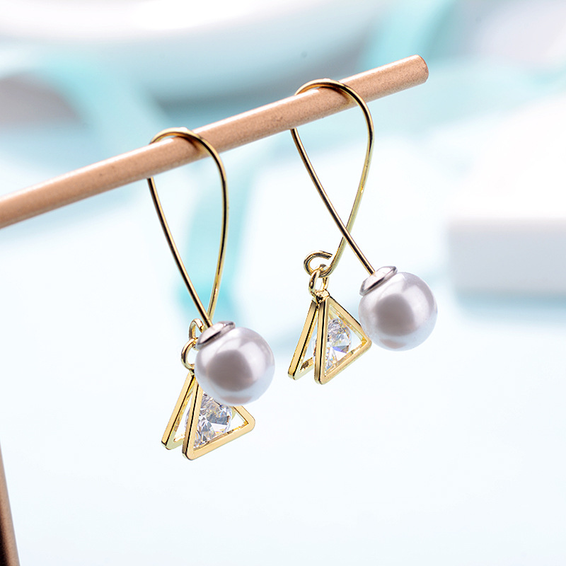 Gold Cross Pearl and Triangle Drop Earring Balance Style Fashion Women Girl Earrings Statement Anniversary Present Low Price in Drop Earrings from Jewelry Accessories