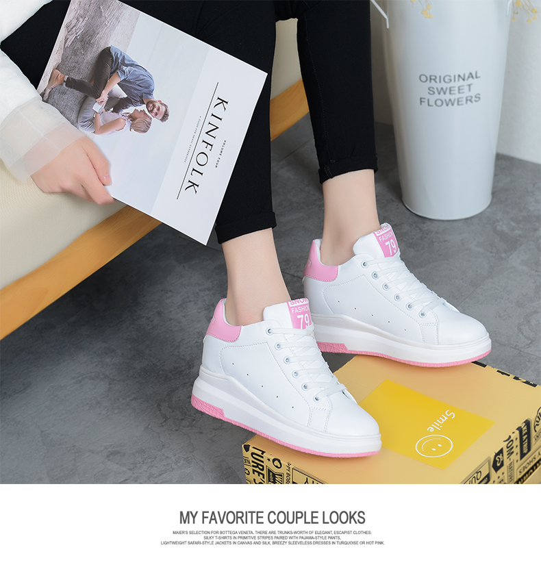 Hide Heel Wedge Leather Casual Shoes Woman 2017 Fashion Spring Lace Up Ladies Shoes Breathable Women White Shoes Superstars ZD39 (35)