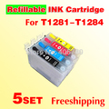 5set T128 refillable ink cartridge T1281-T1284 compatible for EPSON S22 SX125 SX130 SX235W SX420 SX425W SX435 445 with chips