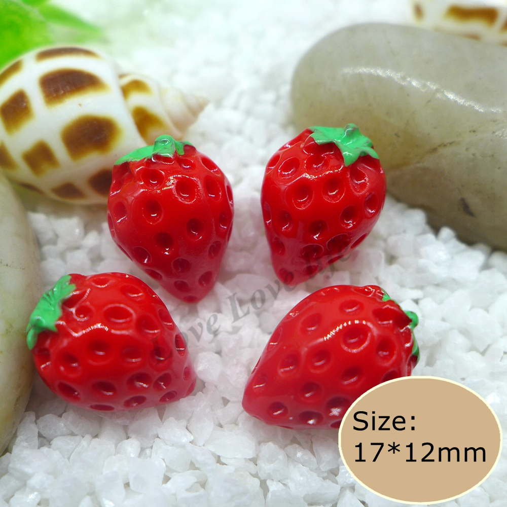 Kawaii Miniature food Strawberry,Resin Cabochon Craft For DIY mobile phone case Jewelry Hair Clip Decoration Scrapbooking