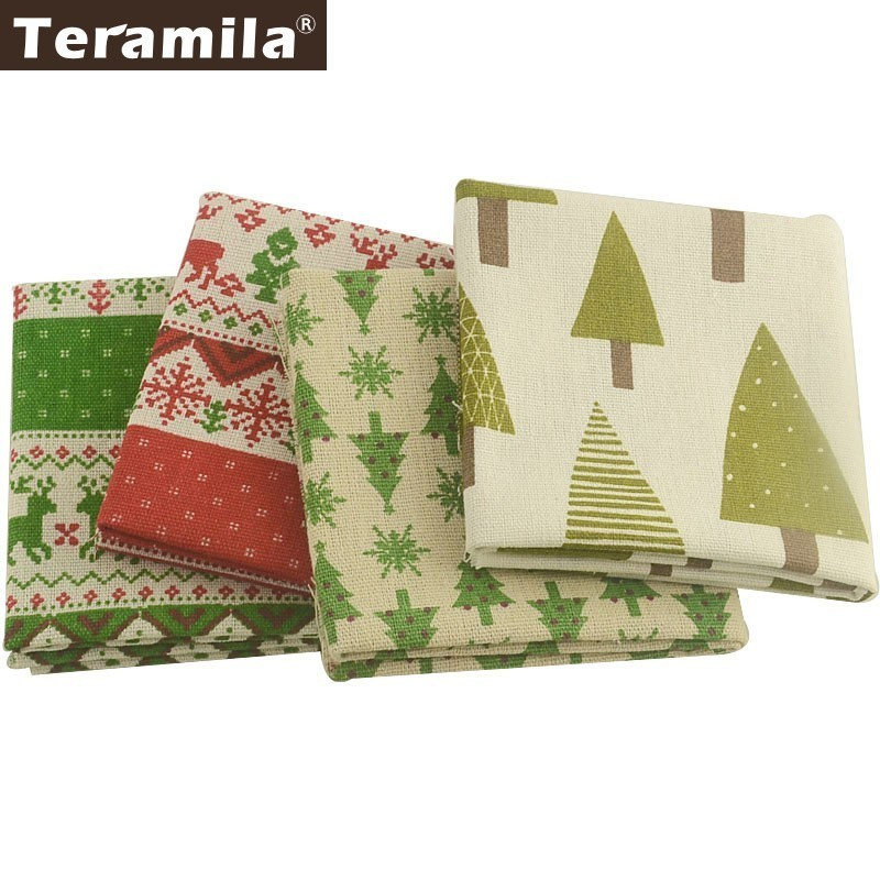Teramila Merry Christmas Style Cotton Linen Fabric Telas Ankara 4PCS 45x45cm Canvas Tissu Sewing DIY Patches Cushion Curtain Bag in Fabric from Home Garden