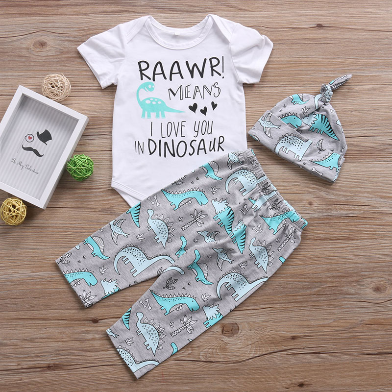 2018 3PCS Sets New Baby Boy Girl Clothes Raawr Means I Love You In DINOSARR Letter Bodysuit+Pants+ Hat Infant Toddle Outfit
