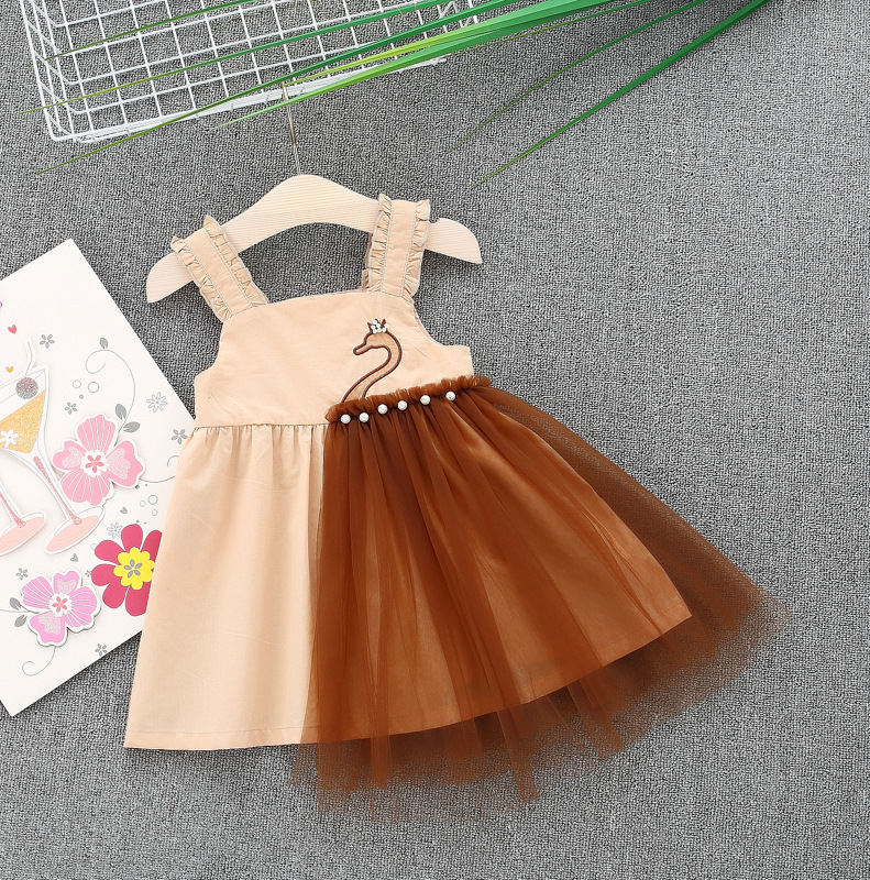 Juicarse Swan Embroidery Dress Baby 2018 Mesh Irregular Tutu Dresses for Girls Pearls Princess Cotton Dress Baby Wedding Party
