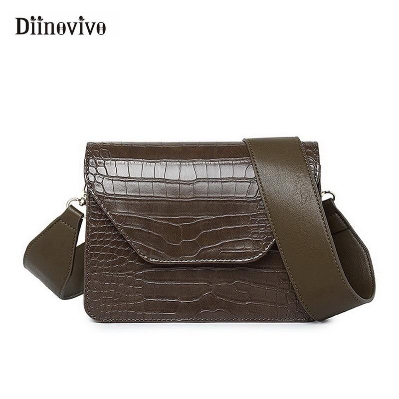 474cbb3d5061 DIINOVIVO New Retro Crocodile Pattern Shoulder Bag Fashion Simple Women  Handbags Small Messenger Bag Pu Leather Purses WHDV0833