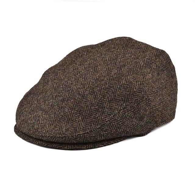 5bb64aa99a8c74 BOTVELA 100% Wool Flat Cap Men Women Tweed Irish Herringbone Gatsby Hat Golf  Derby Newsboy Caps Coffee Brown 002