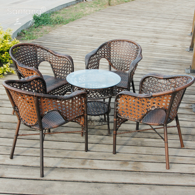 Tang Three Balconies Casual Outdoor Rattan Chairs Coffee Table Three