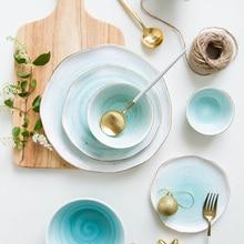 European Style Gold Rim Spot Ceramic Plate Rice Dish Fish Steak Western Dessert Frankfurt-style