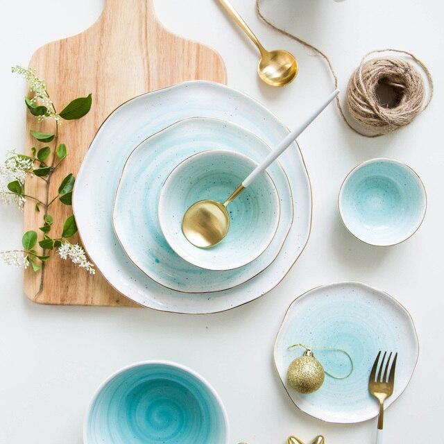 European Style Gold Rim Spot Ceramic Plate Rice Dish Fish Dish Steak Dish Western Dish Dessert & European Style Gold Rim Spot Ceramic Plate Rice Dish Fish Dish Steak ...
