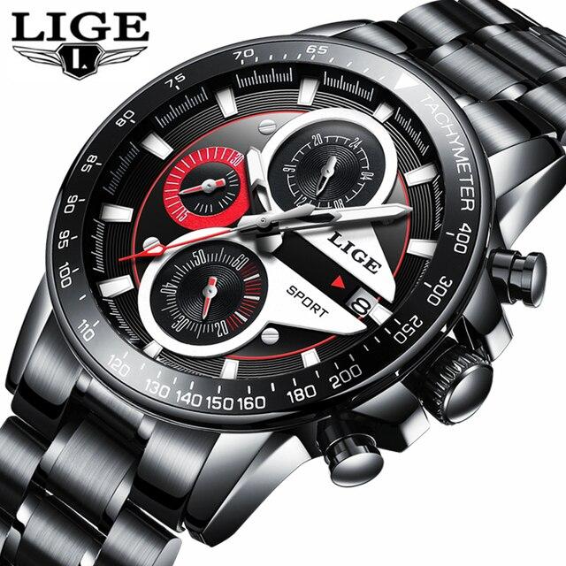43da73f28aa2f LIGE De Mode Quartz Sport Montre Hommes D'affaires En Acier Plein Horloge Hommes  Montres